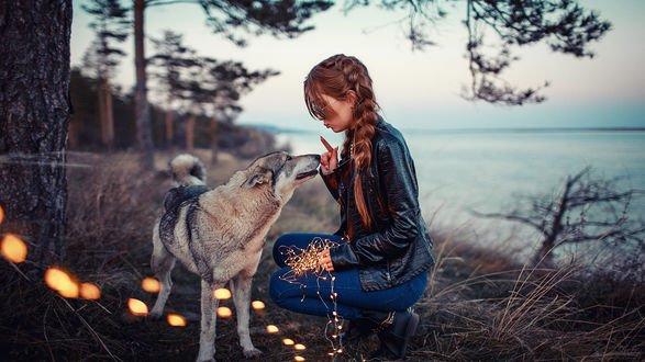 Обои Модель Настя сидит рядом с собакой, фотограф Sergey Shatskov