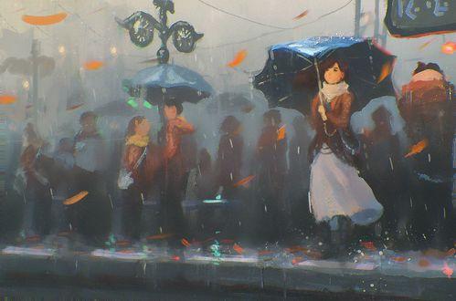 Обои Девушка с зонтом и люди стоят у дороги под дождем, by Sylar113