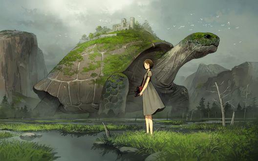 Обои Девушка со старинным фотоаппаратом в руках стоит у реки на фоне огромной черепахи на которой расположен замок