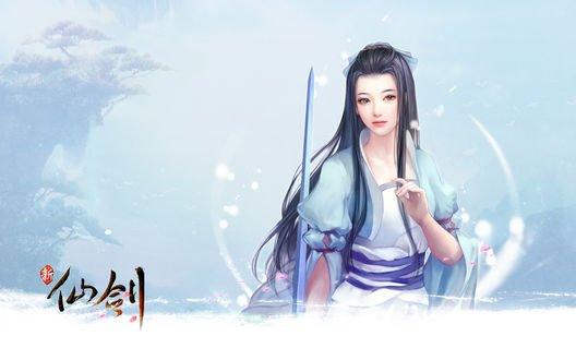 Обои Девушка с мечем на голубом фоне из игры The Legend of Word and Fairy