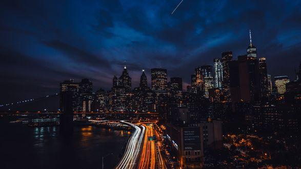 Обои Город New York / Нью-Йорк ночью, USA / США