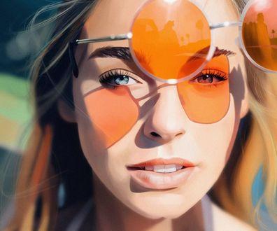 Обои Девушка с оранжевыми очками, by Mayank Kumar