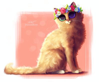 Обои Кошечка с цветными глазами и венком из цветов на розово-белом фоне, by DamaskRose0503