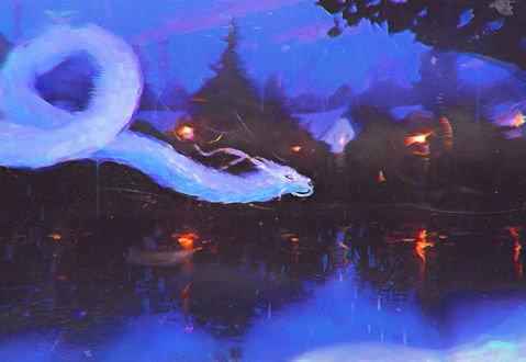 Обои Белый дракон летит над водой, by Sylar113