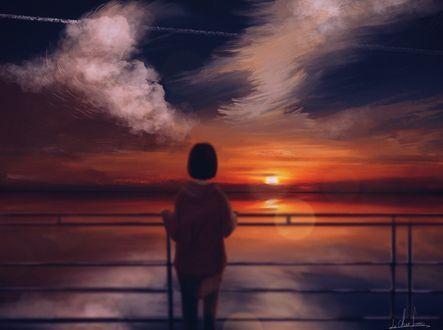 Обои Девушка любуется закатом
