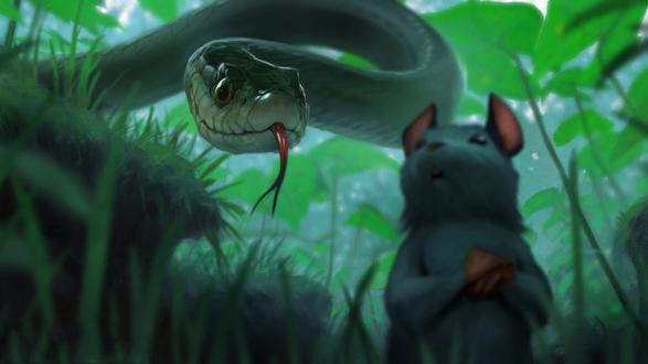 Обои Змея охотится за мышью, by BMacSmith