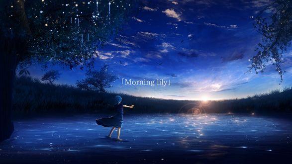Обои Девочка встречает рассвет, (Morning lily / утро Лили), by Y_Y