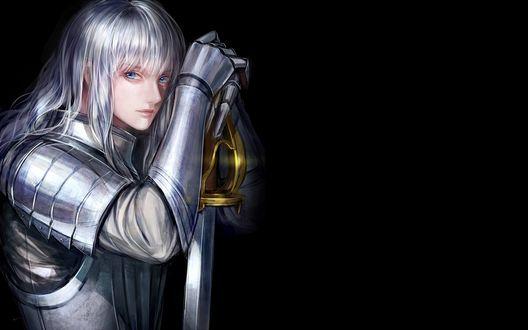 Обои Berserker / Берсеркер с мечом на черном фоне из аниме / игры / визуальной новеллы Fate : zero / Судьба : начало, Fate : EXTRA / Судьба : экстра, Fate : stay night / Судьба: ночь прибытия