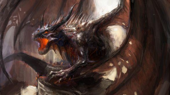 Обои Разъяренный огнедышащий крылатый дракон