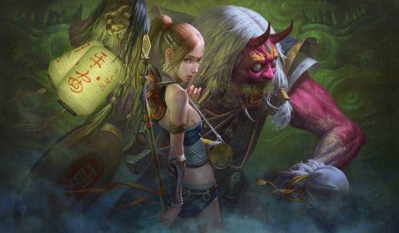 Обои Девушка рядом с ужасными демонами из японской мифологии