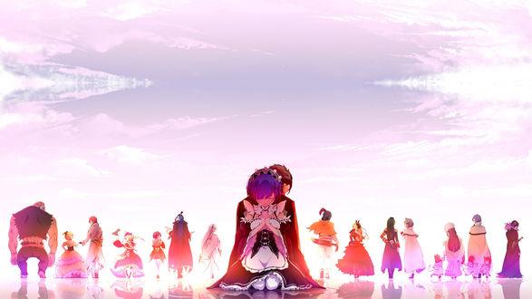 Обои Рэм / Rem и Субару Нацуки / Natsuki Subaru, сидят спина к спине на фоне других персонажей аниме Re: Жизнь в альтернативном мире с нуля / Re: Zero kara Hajimeru Isekai Seikatsu