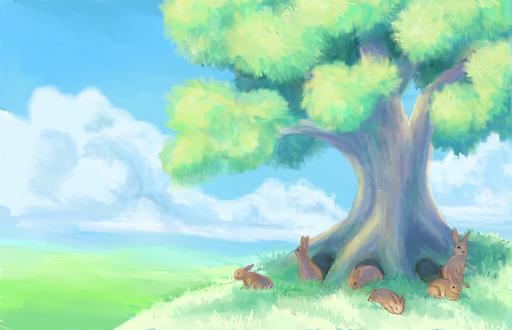 Обои Кролики возле дерева на фоне неба и облаков, by nienor