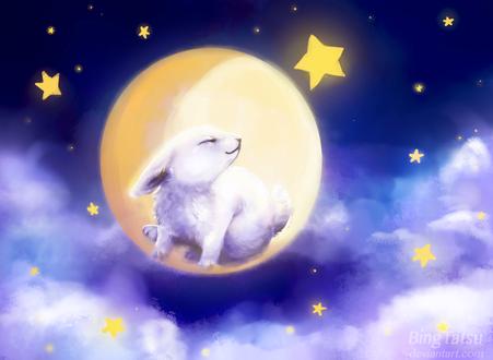Обои Белый заяц в полной луне на ночном небе с облаками, by BingTatsu
