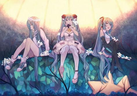 Обои Vocaloid Hatsune Miku / Вокалоид Хатсуне Мику в тех образах сидит по ярким куполом
