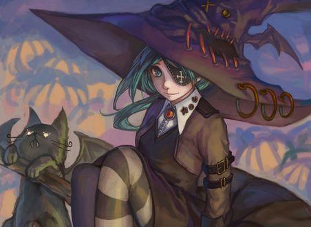 Обои Девушка в костюме ведьмы, сидит рядом с кошкой в костюме летучей мыши
