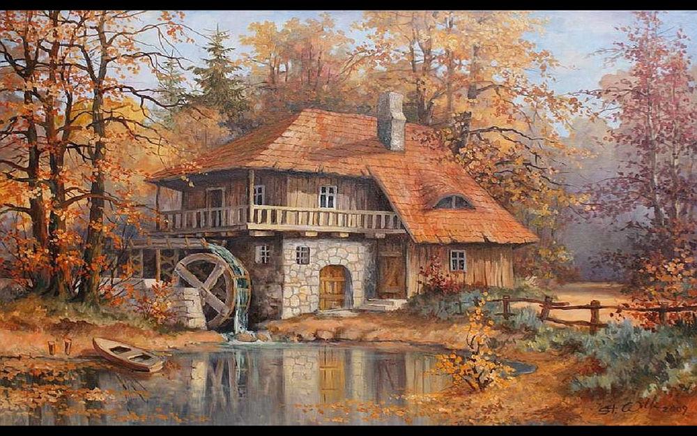 Обои для рабочего стола Водяная мельница возле речки среди деревьев осенью, художник Stanislaw Wilk
