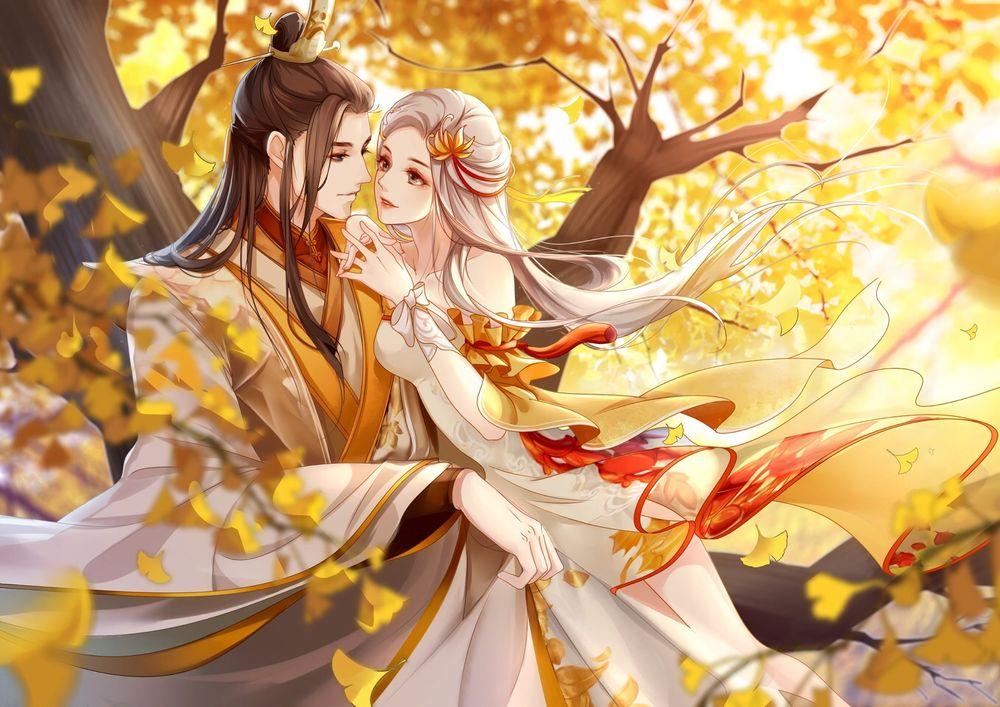 Обои для рабочего стола Влюбленная пара в японской одежде на свидании в осеннем лесу