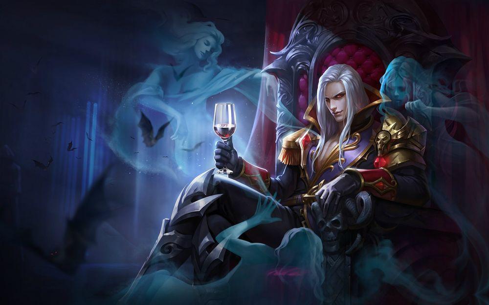 Обои для рабочего стола Парень-вампир сидит на троне с бокалом в руке, вокруг летучие мыши и призраки