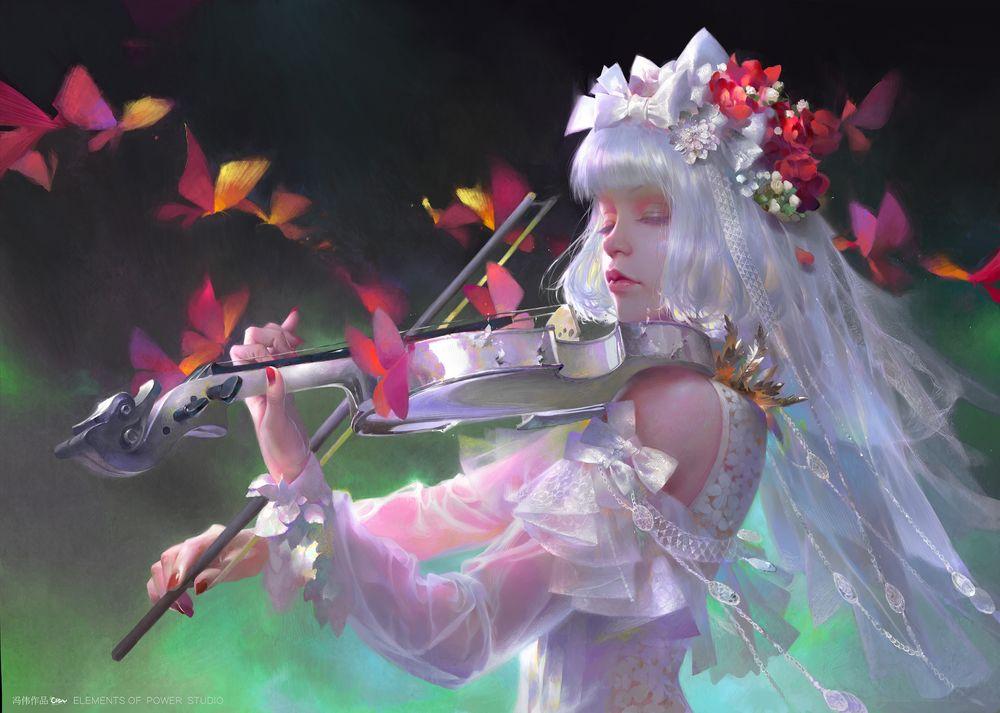 Обои для рабочего стола Девушка с перламутровыми волосами, в свадебном наряде, закрыв глаза, играет на скрипке, рядом порхают бабочки