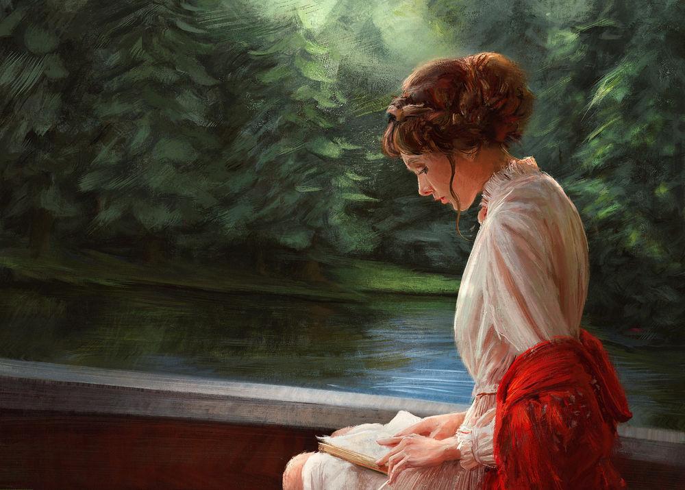 Обои для рабочего стола Девушка с книгой сидит у водоема, by Mandy Jurgens