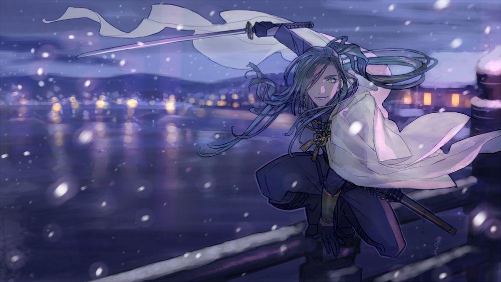 Обои для рабочего стола Juzumaru Tsunetsugu с катаной сидит на корточках на перилах моста в зимний вечер, из игры Touken Ranbu / Танец мечей