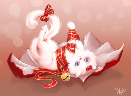 Обои Белая кошечка в бантиках, by Nekorse