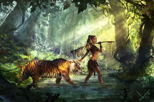 Обои Девушка с тигром идут в воде, by victter-le-fou