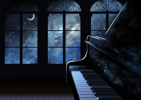 Обои Пианино в комнате, из окон которой видно звездное небо