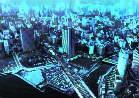 Обои Вид сверху на город