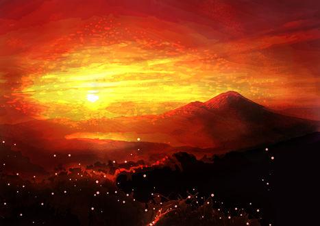 Обои Горы на фоне заката