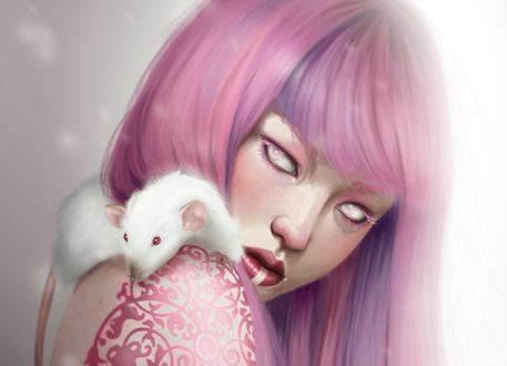 Обои Девушка с розовыми волосами, с тату и белой крысой на плече, by Marta G. Villena