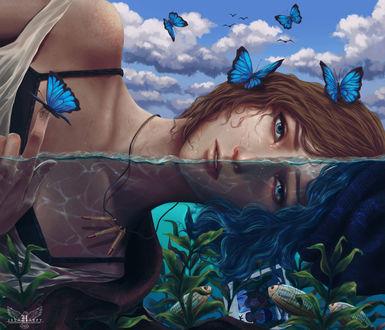 Обои Chloe Price / Хлоя Прайс с бабочками на голове и теле лежит в воде с рыбками из игры Life is strange / Жизнь странная, by Hazelharpy