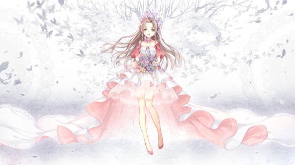 Обои Айрис Гейнсборо / Аэрис / Aerith Gainsborough / Aeris из видеоигры Последняя фантазия 7 / Final Fantasy VII, с букетом цветов в шикарном платье на фоне бабочек, автор Kieta