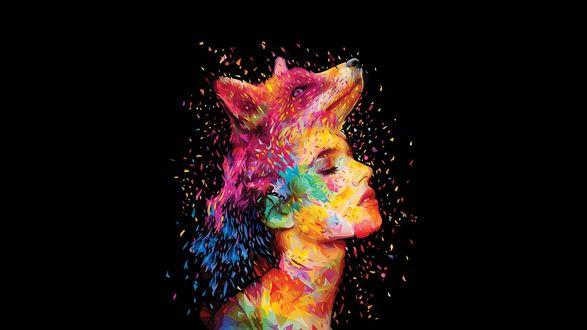 Обои Девушка и лиса над головой в цветной краске