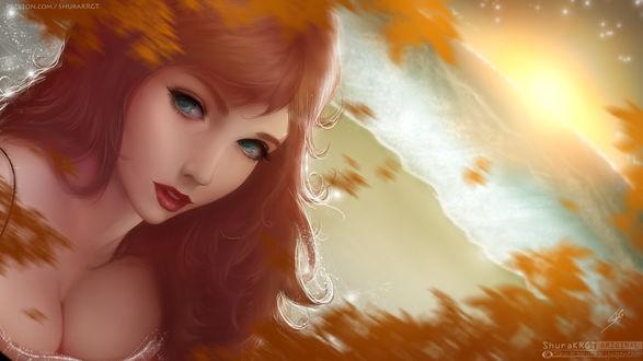 Обои Рыжеволосая девушка на фоне осенних листьев, by ShuraKRGT