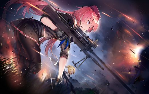Обои St ar-15 с пулеметом на линии огня из игры Girls Frontline