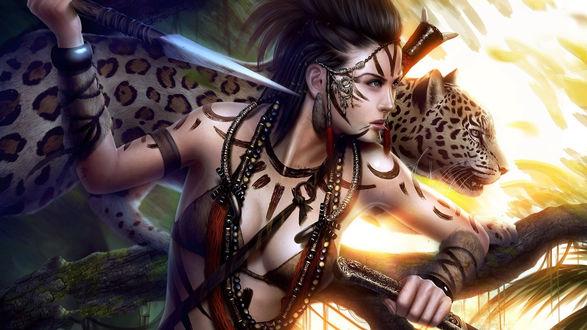 Обои Амазонка и леопард на охоте
