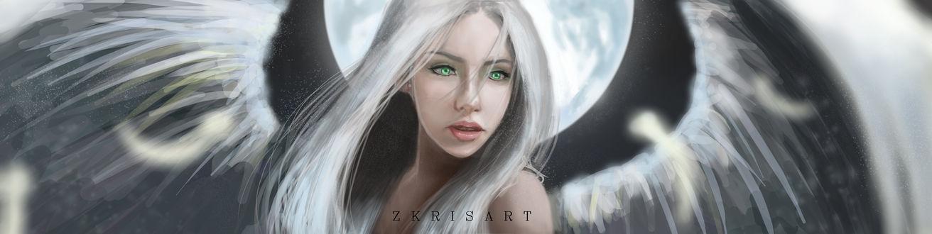 Обои Чернокрылая и белокурая девушка, by Zkrisart