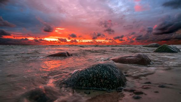 Обои Алый закат на море, by Daiva Cirtaute