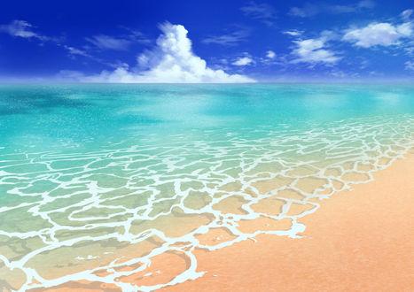 Обои Морской берег на фоне облачного неба