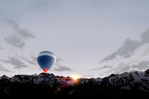 Обои Воздушный шар поднимается в небе на фоне рассвета