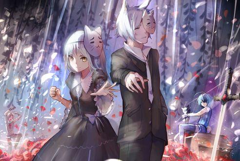 Обои Парень с девочкой с масками на голове стоят под цветущей глицинией рядом с мечом, by Sishenfan