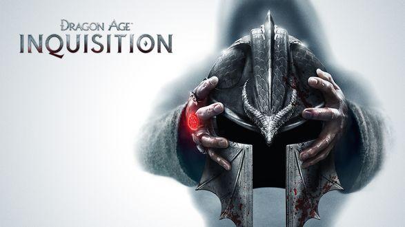 Обои Руки держат шлем в крови, из игры Dragon Age: Inquisition