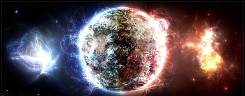 Обои Фантастическая планета в синем и красном пламени на фоне космического пространства