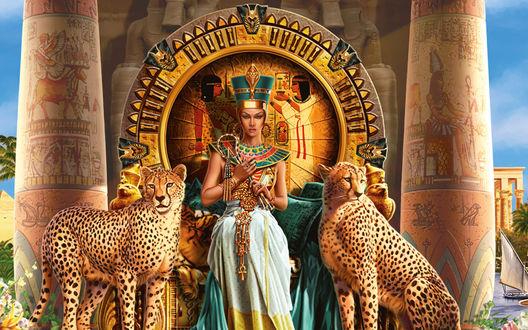 Обои Клеопатра сидит на троне между двух гепардов на фоне природы