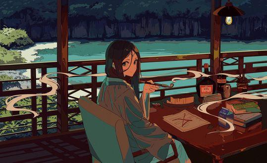 Обои Девушка сидит за столом с курительной трубкой