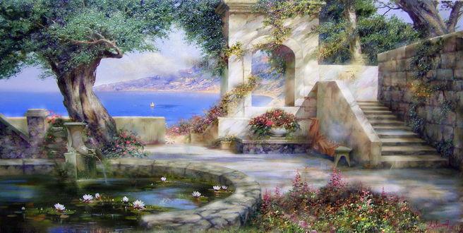 Обои Ландшафт сада с видом на морское побережье, природу и небо, художник Милюков Александр. Итальянский пейзаж