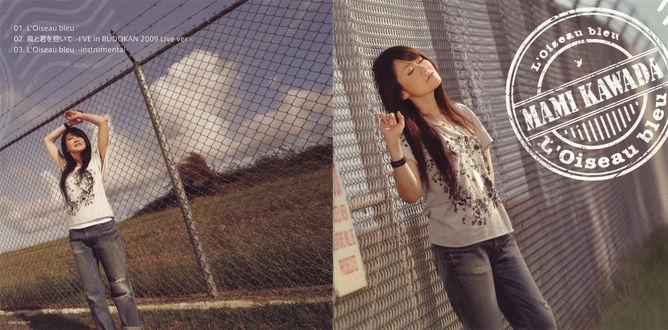 Обои Японская поп-певица и вокалистка аниме Мами Кавада / Mami Kawada стоит возле решетки с проводами на фоне поля и неба скрестив перед собой руки