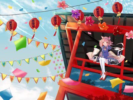 Обои Девушка с кошачьими ушками сидит под крышей здания, украшенного флажками и фонариками