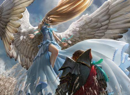 Обои Девушка-ангел парит над воином в поле